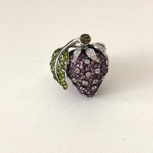 Strawberry Crystal Silver Ring Size 7
